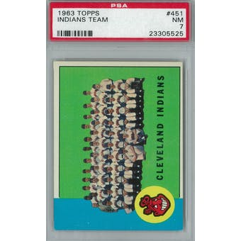 1963 Topps Baseball #451 Indians Team PSA 7 (NM) *5525 (Reed Buy)