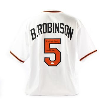 Brooks Robinson Autographed Baltimore Orioles Custom Baseball Jersey w/ Inscription (JSA COA)