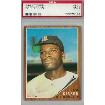 1962 Topps Baseball #530 Bob Gibson PSA 7 (NM) *5169 (Reed Buy)