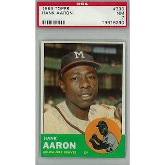 1963 Topps Baseball #390 Hank Aaron PSA 7 (NM) *6290 (Reed Buy)