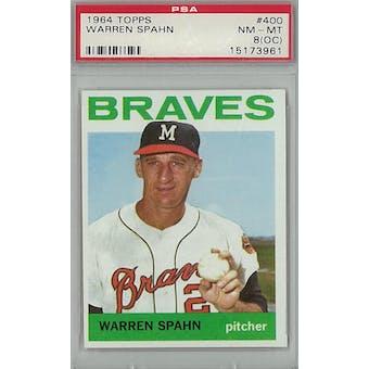 1964 Topps Baseball #400 Warren Spahn PSA 8OC (NM-MT) *3961 (Reed Buy)