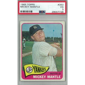 1965 Topps Baseball #350 Mickey Mantle PSA 3 (VG) *7728 (Reed Buy)