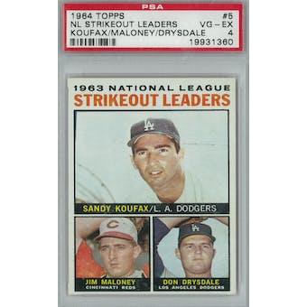 1964 Topps Baseball #5 NL Strikeout Leaders PSA 4 (VG-EX) *1360 (Reed Buy)