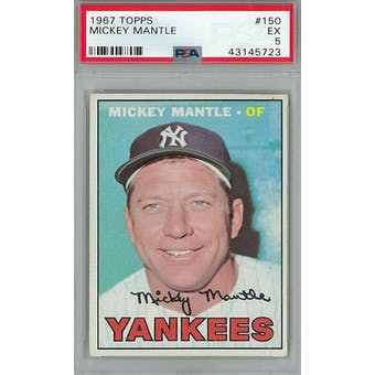1967 Topps Baseball #150 Mickey Mantle PSA 5 (EX) *5723 (Reed Buy)