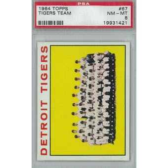 1964 Topps Baseball #67 Tigers Team PSA 8 (NM-MT) *1421 (Reed Buy)