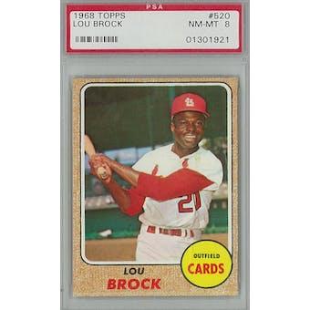 1968 Topps Baseball #520 Lou Brock PSA 8 (NM-MT) *1921 (Reed Buy)