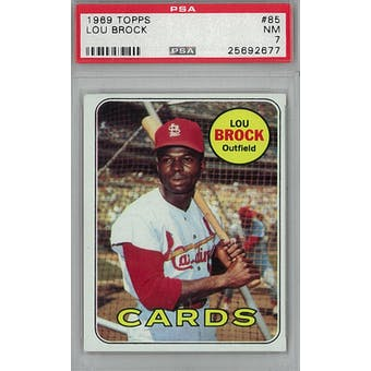 1969 Topps Baseball #85 Lou Brock PSA 7 (NM) *2677 (Reed Buy)