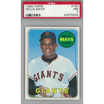 1969 Topps Baseball #190 Willie Mays PSA 7 (NM) *5830 (Reed Buy)