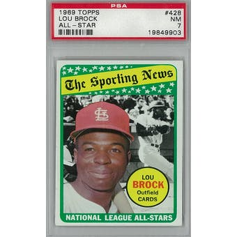 1969 Topps Baseball #428 Lou Brock AS PSA 7 (NM) *9903 (Reed Buy)