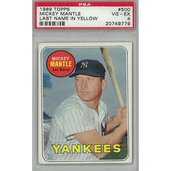 1969 Topps Baseball #500 Mickey Mantle YL PSA 4 (VG-EX) *9779 (Reed Buy)