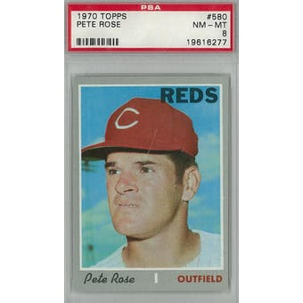 1970 Topps Baseball #580 Pete Rose PSA 8 (NM-MT) *6277 (Reed Buy)