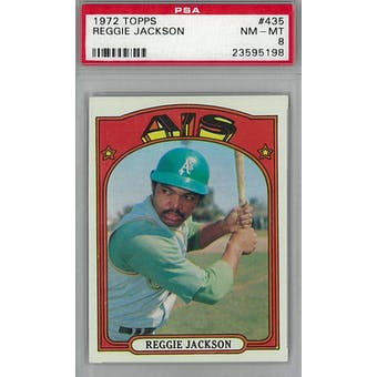 1972 Topps Baseball #435 Reggie Jackson PSA 8 (NM-MT) *5198 (Reed Buy)