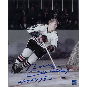 Bobby Hull Autographed Chicago Blackhawks 8x10 White Photo w/HOF (DACW COA)