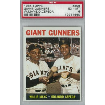 1964 Topps Baseball  #306 Giant Gunners PSA 6 (EX-MT) *1660 (Reed Buy)