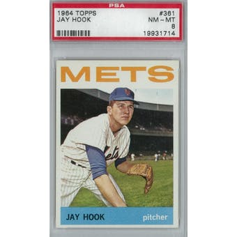 1964 Topps Baseball #361 Jay Hook PSA 8 (NM-MT) *1714 (Reed Buy)