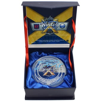 Jack Eichel Autographed Buffalo Sabres Winter Classic Ice Puck