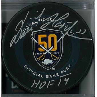 Dominik Hasek Autographed Buffalo Sabres Anniversary Official Hockey Puck