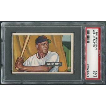 1951 Bowman Baseball #305 Willie Mays Rookie PSA 5 (EX)