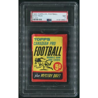 1963 Topps CFL Football 5 Cent Wax Pack PSA 7 (NM)
