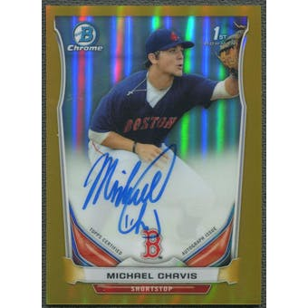 2014 Bowman Chrome Draft #BCAMIC Michael Chavis Rookie Gold Refractor Auto #40/50