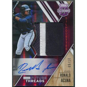 2017 Elite Extra Edition #14 Ronald Acuna Future Threads Silhouettes Purple Patch Auto #09/10