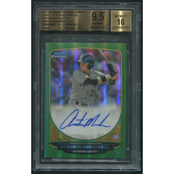 2013 Bowman Chrome Draft #AM Austin Meadows Rookie Green Refractor Auto #61/75 BGS 9.5 (GEM MINT)