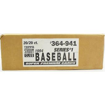 1994 Topps Stadium Club Series 1 Baseball Jumbo 20-Box Case (Reed Buy)