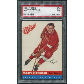 1954/55 Topps Hockey #34 Marty Pavelich PSA 7 (NM)