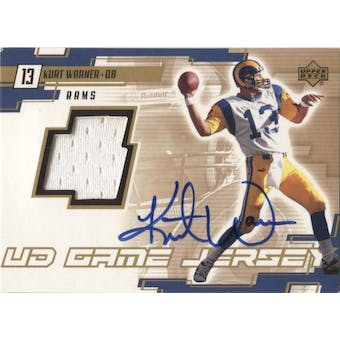 2000 Upper Deck Game Jersey Kurt Warner Autograph Card *Dinged Corner*