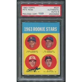 1963 Topps Baseball #537 Rookie Stars Pete Rose Rookie Signed Auto PSA/DNA Auto Grade 9