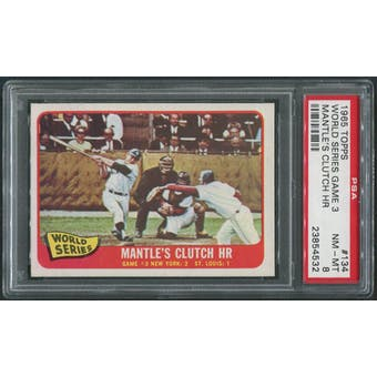 1965 Topps Baseball #134 World Series Game 3 Mickey Mantle's Clutch HR PSA 8 (NM-MT)