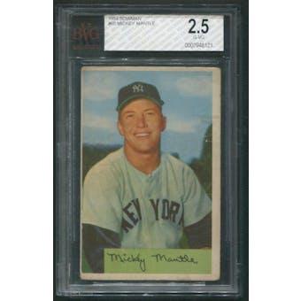 1954 Bowman Baseball #65 Mickey Mantle BVG 2.5 (G-VG)
