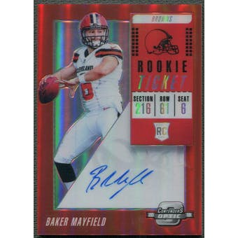 2018 Panini Contenders Optic #101 Baker Mayfield Red Rookie Auto #70/99