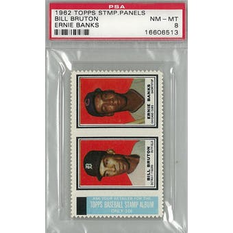 1962 Topps Stamp Panels Baseball Bill Bruton/Ernie Banks PSA 8 (NM-MT) *6513 (Reed Buy)
