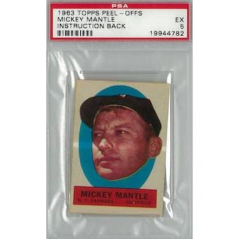 1963 Topps  Peel-Offs Baseball Mickey Mantle Instruction Back PSA 5 (EX) *4782 (Reed Buy)