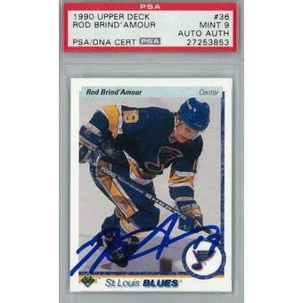 1990/91 Upper Deck #36 Rod Brind'Amour RC PSA 9 Auto AUTH *3853 (Reed Buy)