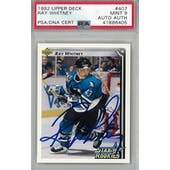 1992/93 Upper Deck #407 Ray Whitney RC PSA 9 Auto AUTH *6405 (Reed Buy)
