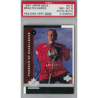 1997/98 Upper Deck #418 Brad Richards RC PSA 8 Auto AUTH *8320 (Reed Buy)