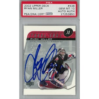 2002/03 Upper Deck #436 Ryan Miller Young Guns RC PSA 10 Auto AUTH *3850 (Reed Buy)