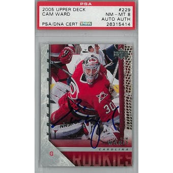 2005/06 Upper Deck #229 Cam Ward Young Guns RC PSA 8 Auto AUTH *5414 (Reed Buy)
