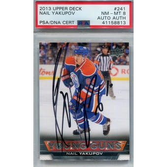 2013-14 Upper Deck #241 Nail Yakupov Young Guns RC PSA 8 Auto AUTH *8813