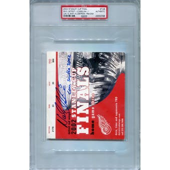 Nicklas Lidstrom 2002 Stanley Cup Finals Game 5 Stub Autograph PSA AUTH *3748 (Reed Buy)