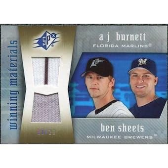2005 Upper Deck SPx Winning Materials Dual Jersey #BS A.J. Burnett Ben Sheets /20