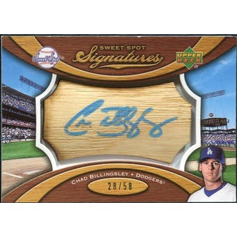 2007 Upper Deck Sweet Spot Signatures Bat Barrel Blue Ink #CB Chad Billingsley /58