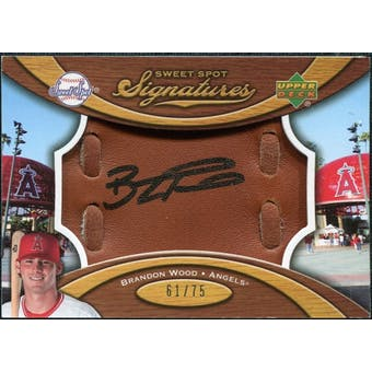 2007 Upper Deck Sweet Spot Signatures Glove Leather Black Ink #BW Brandon Wood /75