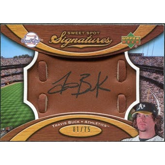 2007 Upper Deck Sweet Spot Signatures Glove Leather Black Ink #TB Travis Buck /75