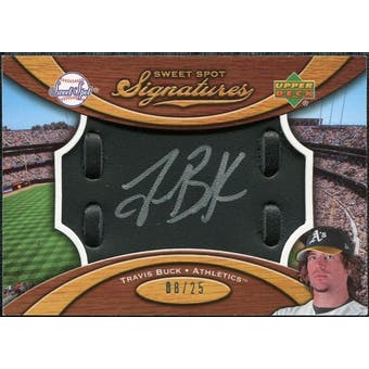 2007 Upper Deck Sweet Spot Signatures Black Glove Leather Silver Ink #TB Travis Buck /25