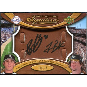 2007 Upper Deck Sweet Spot Dual Signatures Glove Leather Black Ink #SB Ryan Sweeney Travis Buck Autograph /15