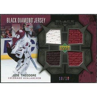 2007/08 Upper Deck Black Diamond Jerseys Black Quad #BDJTH Jose Theodore 10/10