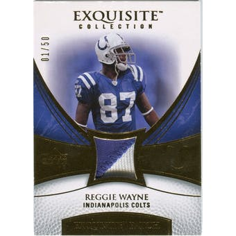 2007 Upper Deck Exquisite Collection Patch Gold #RW Reggie Wayne /50